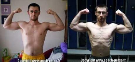 Avant-après en musculation de Stéphane